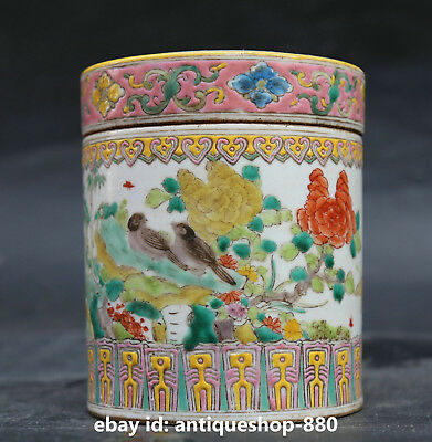 "4.7""Chinese Famille Rose Porcelain Tree Peony Flower Bird Tea Canister Caddy G75"