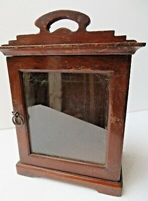 Antique Wood Cabinet Glass Door Mini Display Showcase Early Used Table Watch Box
