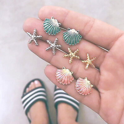 4Pairs Summer Beach Earrings Set Starfish Shell Stud Mermaid Girly Ear Decor Kit