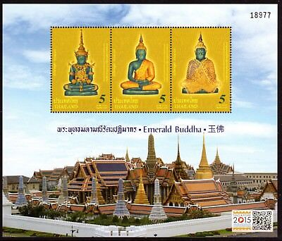 2015 THAILAND EMERALD BUDDHA TEMPLE minisheet Singapore Exhibition mint unhinged