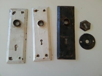 Antique Farmhouse Door Knob Backplates (3) & Keyhole Escutcheons (2)