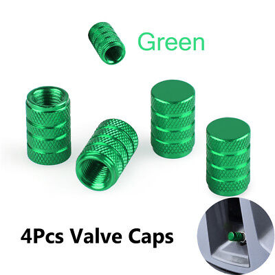 4 x Aluminum Piston Tire/Rim Valve/Wheel Air Port Dust Cover Stem Cap/Caps Green