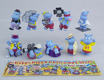 Kinder Ferrero Surprise Serie Completa Hippo Hollywood Movie Cake Top +1 Cartina