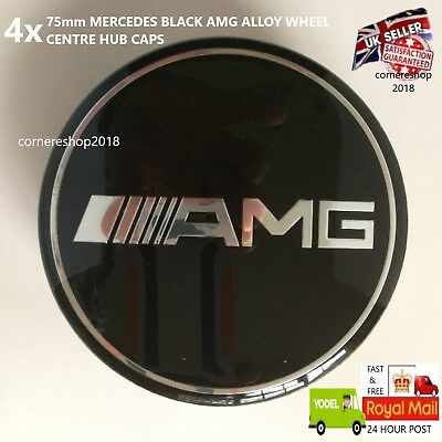 REPLACEMENT 75mm AMG MERCEDES ALLOY WHEEL CENTRE HUB CAPS  A B C E S ML G SL SLK