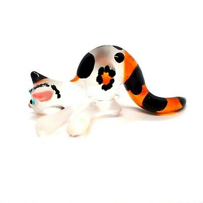 Figurine Miniature Hand Blown Glass Cat Kitty Art Painted Animal Collectibles