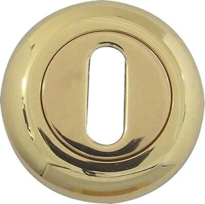 Pencil Round Edge Standard Keyhole Rose Escutcheon Polished Brass - UK Quality