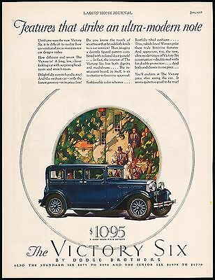 Vintage magazine ad DODGE BROTHERS 1928 The Victory Six green car picture n-mint