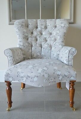 Armchair Grey Linen White Floral Print Pattern Chair/Bedroom Chair.Handmade UK