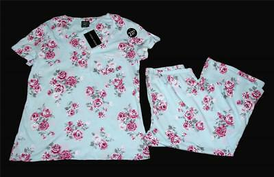 2-Pc Laura Ashley Pink Roses Bouquet Black Cami Top /& Shorts Pajamas Set NWT $36