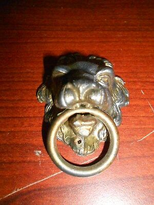 Vintage Lion Head Cabinet Knob Drawer Pull  with Ring- Steampunk
