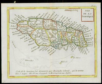 1787 - Original Antique Map ISLE DE LA JAMAIQUE JAMAICA by de Tour (1)