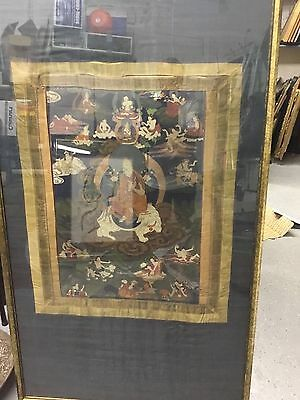 Antique Qing Chinese 18thc or earlier thanka tanka Buddhist painting MUSEUM pc
