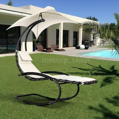 Outdoor Patio Sun Canopy Hanging Rocking Shade Chair Chaise Lounge Beige P5X4