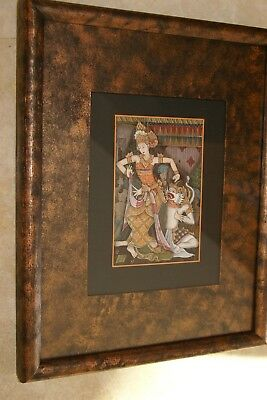 Original Framed Traditional Balinese Ubud Art Minute Detail Ink Painting Topeng