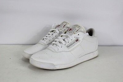 Vintage 90s REEBOK CLASSIC Womens Size 10 Spell Out Leather Sneakers Shoes  White b4bfeeb73