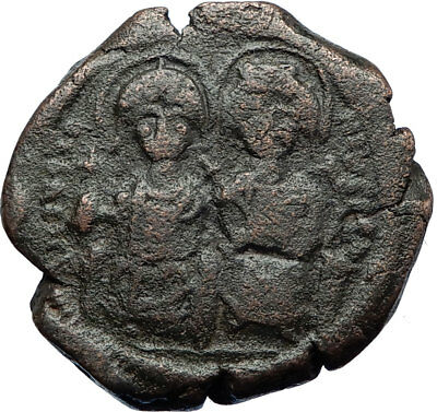 JUSTIN II & SOPHIA 565AD Constantinople Follis Ancient Byzantine Coin i70516