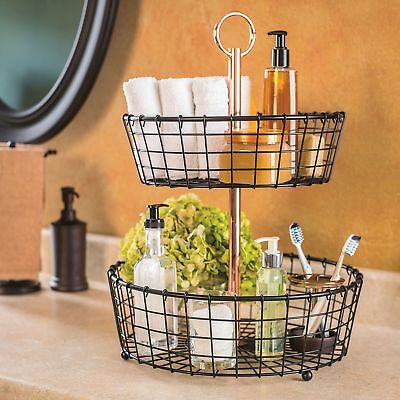 Two Tier Wire Basket Stand Handle Kitchen Or Bath Counter Top Wrought Iron Black