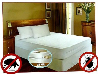 Bed Bug Allergy Relief Waterproof Zippered Vinyl Mattress Cover/Protector 4 Size