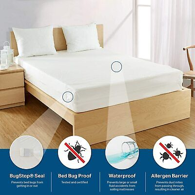 MATTRESS ENCASEMENT Bed Bug Proof Relief Waterproof Zippered Vinyl Cover Protect