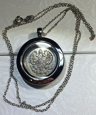 Imperial Russia Double Eagle Russian Antique 1910 Silver Coin Pendant Locket!