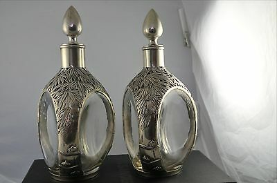 Pair Silver Overlay  Decanter Haig Very Rare  Bamboo Tree Unusual Design