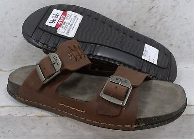 4fc798e73 NEW Clarks Mens Keften Step Brown Leather Slides Sandals Shoes 14267 size 8  M