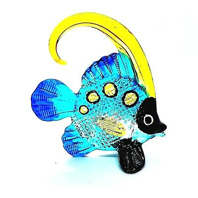 Figurine Miniature  Hand Blown Glass Fish Art Painted Animal Collectibles