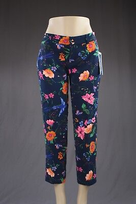Old Navy Women Trouser Pants Size 6 Cropped Harper Floral Navy Blue Casual NEW