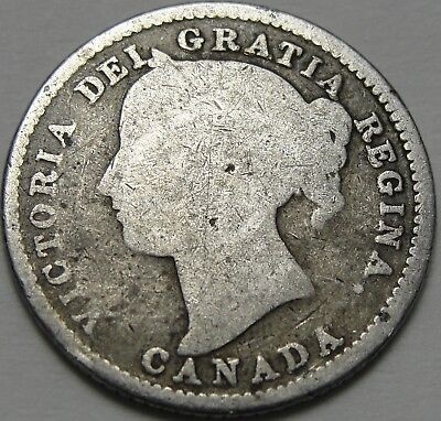 1882-H 10C Canada 10 Cents, Silver Canadian Dime, Silver, #12445