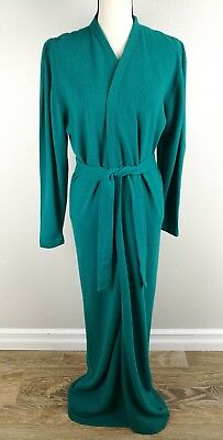 Neiman Marcus 100% Cashmere Long Robe Size Medium Womens Green Belted