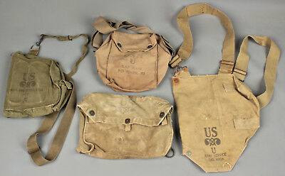 Vtg. Lot of 4 WWII U.S. Army Bags / Gas Mask Carriers #645 WW2 1940s