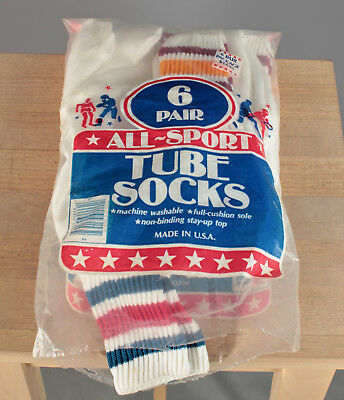 Vtg. Deadstock Pack of 4 Pairs Boy's 80s All-Sport Tube Socks Sz 10-14 1980s 632