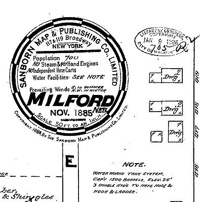 Milford, Nebraska~Sanborn Map© sheets~1889, 1892, 1899, 1910 with 7 maps on a CD