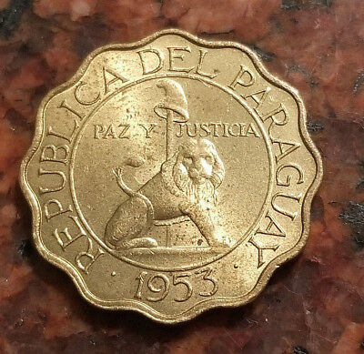 1953 Paraguay 25 Centimos Coin - Wavy Edge - Low Mintage - #3460