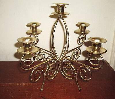 Home Interior Brass / Gold Tone Candelabra 5 Candle Holder