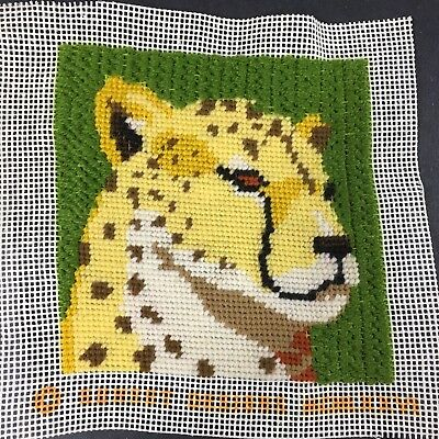 """Vintage 1970's Needlepoint Cheetah Sunset Designs 5"""" x 5"""" Completed"""