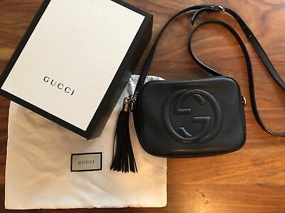 db6b4116809d GUCCI SOHO SMALL Leather Disco Bag with Tassel in Black ORIG $1190 ...