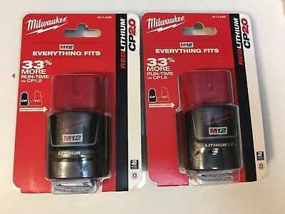 (2-Pack) Brand New Milwaukee M12 12V 2.0Ah  Lithium-Ion Battery Pack 48-11-2420