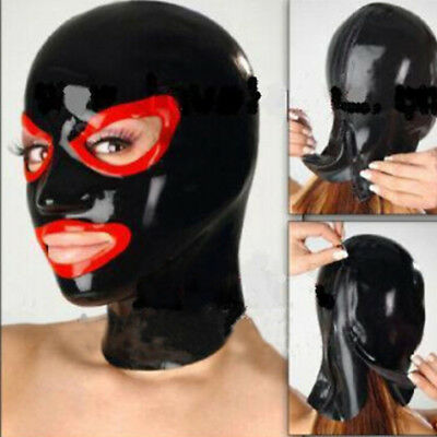 Latex Hood Open Mouth and Beautiful Eyes Handmade Rubber Mask Club Wear Costumes