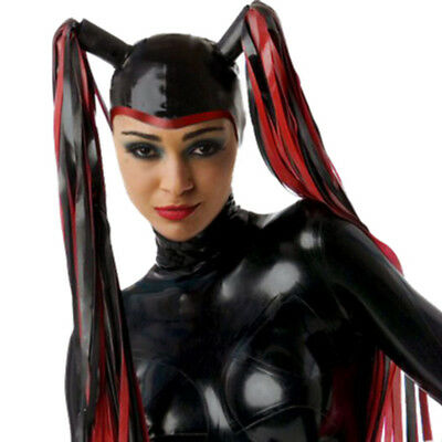 Latex Hood Open Face with Double Latex Wigs Handmade Performance Rubber Mask