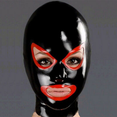 Latex Hood Open Mouth and Rising Eyes for Catsuit Handmade Rubber Mask Club Wear