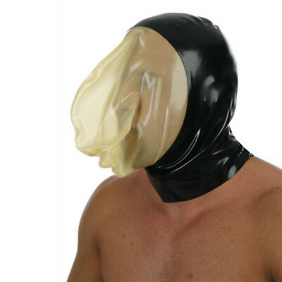 Latex Hood with Sealed Breathing Bag for Experience Suffocation Rubber Mask