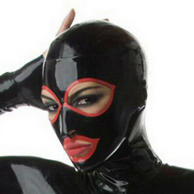 Latex Hood Open Eyes and Mouth Rubber Mask for Catsuit Cosplay Club Wear Costume