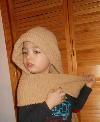 Light Brown Hooded Scarf Multifunction Winter Knitted Soft Comfortable Shawl