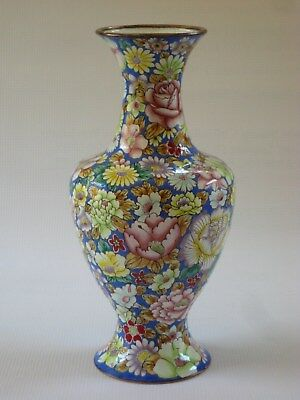 Vintage Chinese Hand Painted Millifiori Canton Enamel on Copper Vase  1970-80's