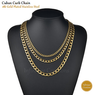 Men Women Stainless Steel Gold Curb Cuban Chain Necklace 3mm~12mm