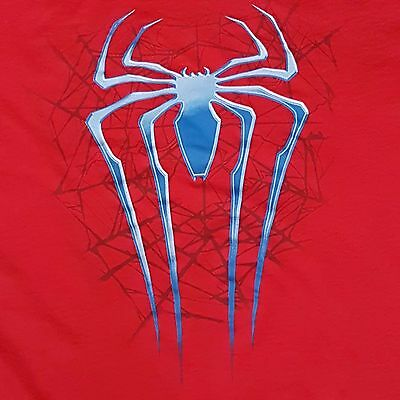 The Amazing SPIDER MAN 2 Mens Sz L 42 44 Tee Red Spiderman Web
