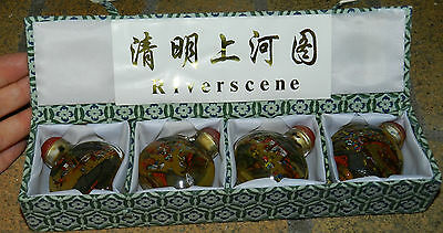 Chinese Reverse Painted Glass Small Snuff Bottles - Collectible Boxed Set of 4