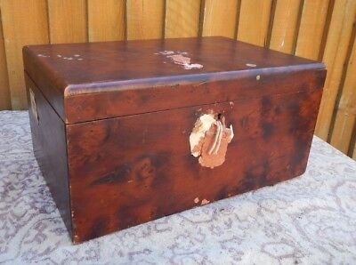 Antique Victorian Solid Burr Walnut Box ~Deeds~Bonds~Documents~Sewing~Work Box