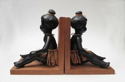 Barsony Black Lady Australian Pottery Bookends Rare Original Pair Labelled Girls